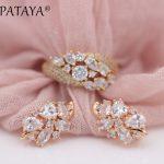 PATAYA New Gift Irregular 585 Rose Gold White Water Drop Natural Zircon Earrings Rings Sets Women Wedding Luxury <b>Fashion</b> <b>Jewelry</b>