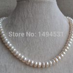 Wholesale Pearl <b>Jewelry</b> – White Color 17 Inches Genuine Freshwater Pearl Necklace 9.5-10.5mm <b>Wedding</b> Bridesmaids Gift