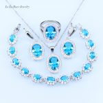 L&B <b>silver</b> Color 925 Stamp Sky Blue Rhinestone White Crystal Jewelry Set Women Earring/Ring/Necklace/Pendant/<b>Bracelet</b>