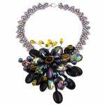 2017 Lady Women Gray Pearl black abalone shell Black onyx crystal flower <b>necklace</b> For Women Fashion <b>Jewelry</b> Party Gift