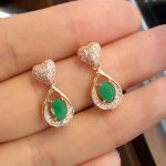 Rushed Mujer Qi Xuan_Fashion Jewelry_Colombia Green Stone Water Drop <b>Earrings</b>_Rose Gold Color <b>Earrings</b>_Factory Directly Sales