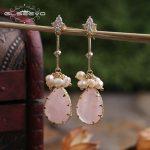 GLSEEVO Natural Fresh Water Pearl Dangle Earrings For Women Pink Crystal CZ Drop Earrings Handmade Fine <b>Jewelry</b> Brincos GE0332