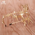 Snuoy VIVID Gold Dragonfly Tiaras & Crowns Pageant Gold Hair <b>Jewelry</b> Simple Pageant Hair Comb Wedding Golden Headpiece HG556/557