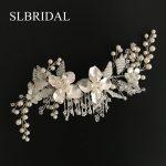 Gorgeous <b>Handmade</b> Wired Rhinestones Crystals Flower Leaf Wedding Hair Comb Bridal Headpiece Hair Accessories Bridesmaids <b>Jewelry</b>