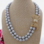 N100205 19″-20″ 2Strands Grey Rice Pearl Necklace CZ Pendant