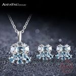 ANFASNI Fashion Real 925 Sterling <b>Silver</b> Pendant Earrings Jewelry Set With Sky Blue AAA CZ Stone For Women Wedding Jewelry