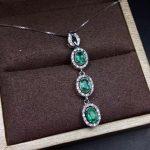 natural green emerald pendant S925 <b>silver</b> Natural gemstone Pendant Necklace trendy elegant Fortune bean women party fine <b>jewelry</b>