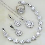 White Fire Mystic Cubic Zirconia Bridal 925 <b>Silver</b> Jewelry Sets For Women Wedding <b>Bracelets</b>/Necklace/Pendant/Earrings/Ring