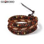 Go2boho Dropshipping New MIYUKI Wrap Bracelets Seed Beads Woven Bracelet Women Men <b>Jewelry</b> 3 Layer Black Leather <b>Handmade</b> Beaded