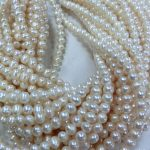 Wholesale Supply 7-8mm Near Round Freshwater Shell Pearl Loose Beads Semi-finished Necklace <b>Jewelry</b> <b>Making</b> 38-40cm Natural Stone