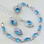 Eye 925 Sterling <b>Silver</b> Jewelry Blue Cubic Zirconia White CZ Jewelry Sets For Women Earring/Pendant/Necklace/<b>Bracelet</b>/Ring