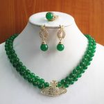 Women's Wedding best gift set!Wholesale factory price Women's green gem 2 rows Necklace earring ring(7/8/9 real silver-<b>jewelry</b>