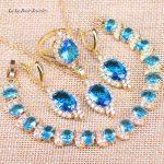 L&B Australia Pure Light Blue&White Crystal Gold Color Bracelets Pendant <b>Necklace</b> Earrings Rings Wedding <b>Jewelry</b> Sets