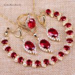 L&B Vintage Round Red Garnet Gold Color <b>Jewelry</b> Sets Drop Earrings Bracelets Set Necklace Pendant Rings For Women