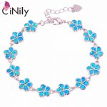 CiNily Created Blue White Fire Opal <b>Silver</b> Plated Wholesale Flower for Women Jewelry GIFT Chain <b>Bracelet</b> 6 1/4″-8 1/8″ OS418-19