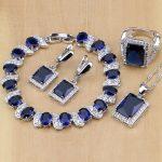 925 Sterling <b>Silver</b> Jewelry Blue Zircon White CZ Jewelry Sets For Women Earrings/Pendant/Necklace/Rings/<b>Bracelet</b>