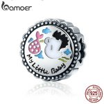 BAMOER Authentic 100% 925 Sterling Silver Little Baby Stork round Charm Beads fit Girl Charm Bracelet DIY <b>Jewelry</b> <b>Making</b> SCC504
