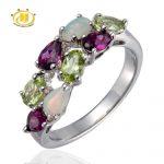 Hutang Natural Colorful Gemstone Opal Peridot Rodolite 925 <b>Sterling</b> <b>Silver</b> Ring Women's Fine <b>Jewelry</b>