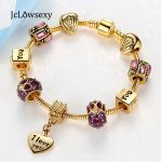Gold Color I love You Enamel Crystal Heart Charms DIY Pan Snake Chain Bracelets For Women <b>Jewelry</b> <b>Making</b> Pulseira Feminina