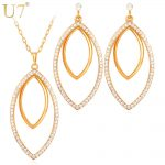 U7 Big Size <b>Jewelry</b> Set Gold Color Rhinestone Crystal Party <b>Jewelry</b> Trendy Earrings <b>Necklace</b> Set Women S529