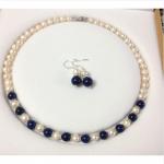 "Wedding Woman AA 18"" 9-10MM White Freshwater Pearl Necklace Set Earring Lapis Lazuli Bead Real Natural Pearl <b>Handmade</b>"