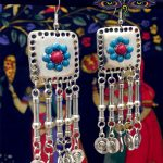 Thailand Turkey Middle East Retro Long Silver Earrings <b>Handmade</b> Exotic Style <b>Jewelry</b> Exaggerated Hippie Style