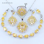 L&B Sparkling Yellow Cubic Zirconia 925 <b>Silver</b> Color Jewelry Set Water Drop <b>Bracelet</b> Pendant Necklace Earrings 33.58Ring