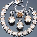 Bridal Champagne Cubic Zirconia <b>Silver</b> 925 Jewelry Sets Women Costume With <b>Bracelet</b> Stone Earrings Pendant Necklace Rings Set
