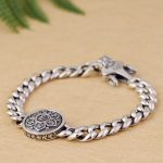 FNJ Round Charm Bracelet 925 <b>Silver</b> Width 9mm Length 20cm Big Link Chain S925 <b>Silver</b> Bracelets for Men <b>Jewelry</b>