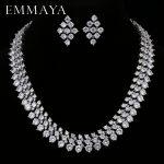 EMMAYA Luxury Bridal Jewelry Sets <b>Silver</b> Color Rhinestone Cz <b>Necklace</b> Wedding Engagement Jewelry Sets for Women