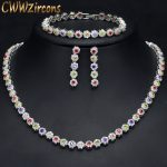 CWWZircons High Quality Sparkling MultiColored Red Green Purple Cubic Zirconia Ladies Wedding <b>Jewelry</b> Sets For Brides T246