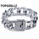 TOPGRILLZ 18MM Cuban Link Bracelets Hip Hop <b>Jewelry</b> Gold <b>Silver</b> Color Plated Copper Material Iced Out CZ Chain Bracelets 7″8″