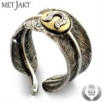 MetJakt Vintage <b>Handmade</b> Feather Ring with U Logo Solid 925 Sterling Silver Open Ring for Unisex Thai Silver <b>Jewelry</b>