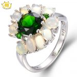 Hutang 3.163ct Natural Chrome Diopside & Opal Solid 925 Sterling <b>Silver</b> Ring Gemstone Fine <b>Jewelry</b> Best Gift For Women's