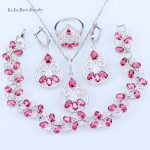 L&B Best Birthday Present For Women & Lady Rose Red Crystal White Zircon <b>Silver</b> Color Wedding Jewelry Sets