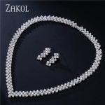 ZAKOL Exquisite Design Sliver Color Pave Cut 3mm Cubic Zirconia Roman Women <b>Jewelry</b> Set Best For Wedding FSSP066