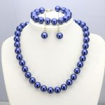 Two color options Dark blue/Blue glass pearl necklace set 12mm necklace 18″bracelet 7.5″ earring women hot <b>jewelry</b> <b>making</b>