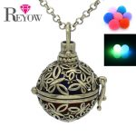 Aromatherapy <b>Jewelry</b> Glow Beads Pendant Essential Oil Fragrance Diffuser <b>Antique</b> Bronze Hollow Butterfly Locket Necklace