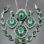 <b>Silver</b> 925 Green Zircon White Rhinestones Bridal Jewelry Sets Pendant <b>Bracelets</b> Rings Earrings For Women Set Jewelery Free Box