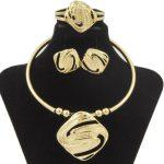 2018 Fashion Italian Gold Box Shape <b>Jewelry</b> African Women Big Necklace Earrings Bracelet Ring <b>Wedding</b> Engagement <b>Jewelry</b> Sets