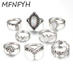 MFNFYH Vintage Hollow Out Flower Knuckle Rings Set For Women Bohemian <b>Antique</b> Silver Geometric Midi Ring Fashion <b>Jewelry</b> Gifts
