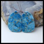 Natural Gemstone Blue Apatite Earring Bead,<b>Fashion</b> Earring <b>Jewelry</b>,47x30x4mm,25.3g