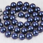 Fashion 12mm dark blue shell simulated-pearl round beads chokers chians rope necklaces for women <b>jewelry</b> <b>making</b> 18inch MY2043