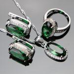 Green Zircon Women Silver 925 Costume Wedding <b>Jewelry</b> Sets Pendant Necklace Rings Earrings With Stones Set Jewellery Gift Box
