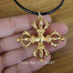 PN142 Ethnic Tibetan Buddhist Cross Dorje Vajra Pendant <b>Handmade</b> Nepal <b>Jewelry</b> Copper Golden 45mm Varja Amulet