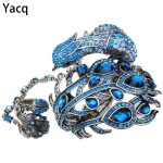 YACQ Peacock Bangle Bracelet Slave Hand Chain Attached Ring Sets Women <b>Jewelry</b> Gifts A23 Silver Gold Color Dropshipping