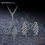 ANFASNI New Arrival 925 Sterling <b>Silver</b> Jewelry Set Retro Ethnic Feather Clear Cubic Zirconia Sets For Women Luxury Gift