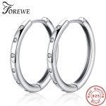 FOREWE Round Hoop Earrings Real 925 Sterling Silver Earrings for Women Cubic Zircon Crystal Circle Earrings <b>Fashion</b> <b>Jewelry</b> Gift