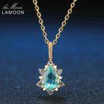 LAMOON Pear Cut 5x7mm 1ct 100% Natural Apatite 925 Sterling <b>Silver</b> Jewelry Chain Pendant <b>Necklace</b> LMNI023