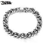 ZABRA Authentic 925 <b>Sterling</b> <b>Silver</b> 8mm Skull Bracelet Link Chain Mens Bracelet Vintage Thai <b>Silver</b> Punk Bracelets Men <b>Jewelry</b>